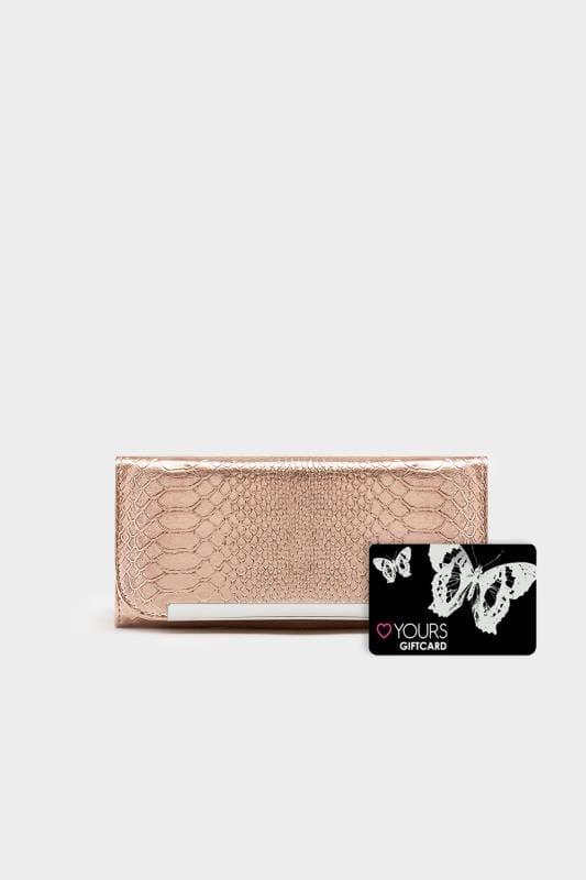 Geldbörse in Schlangenleder-Optik - Rotgold-Metallic