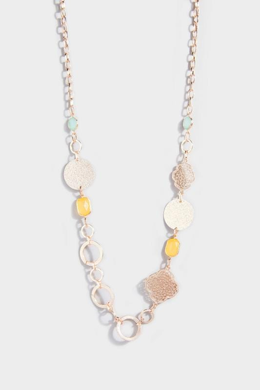 Rose Gold Stone Long Necklace