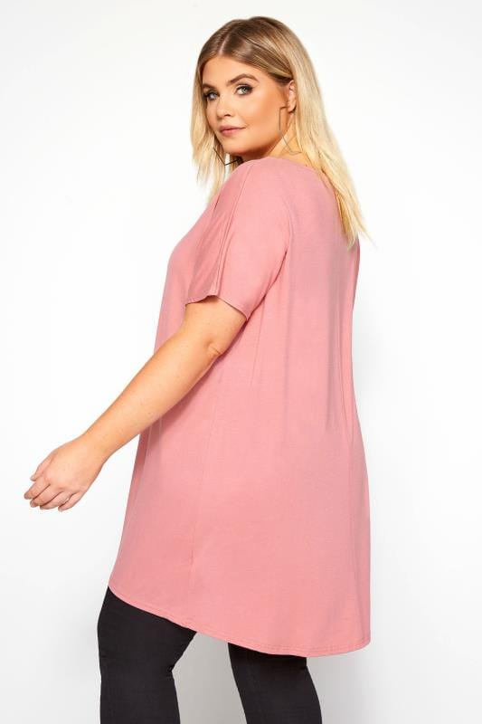 Rose Pink Dipped Hem Top
