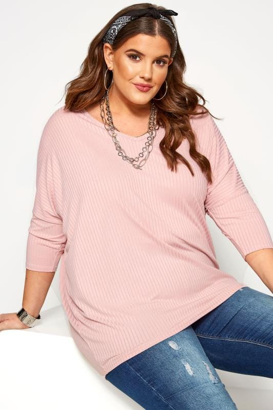 Plus Size Day Tops Rose Pink V-Neck Ribbed Top