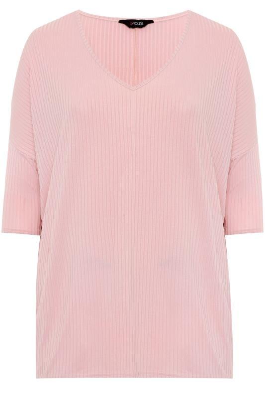 Rose Pink V-Neck Ribbed Top