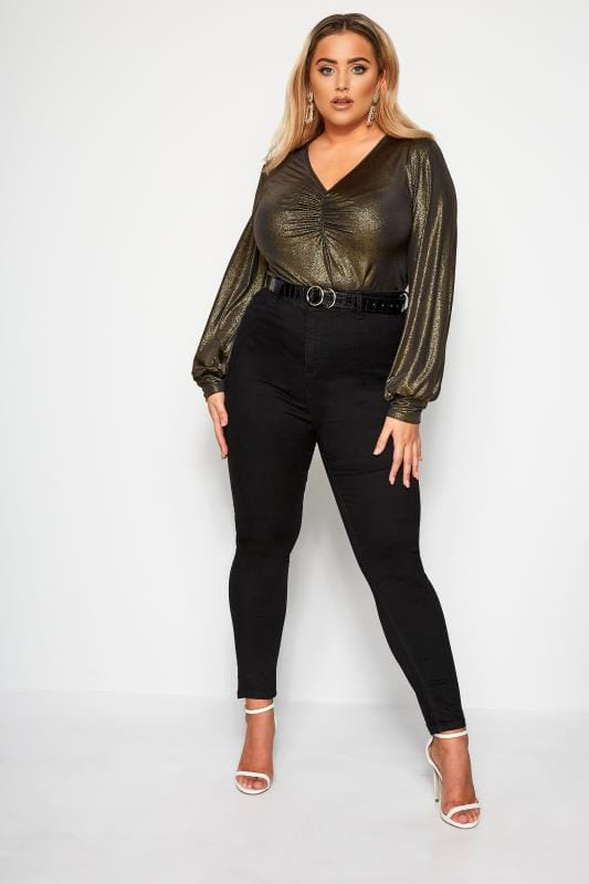 Plus Size Party Tops LIMITED COLLECTION Black Metallic Ruched Front Top