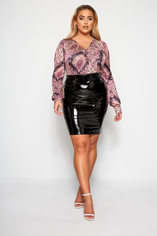 Plus Size Party Tops LIMITED COLLECTION Purple Mixed Print Ruche Front Top