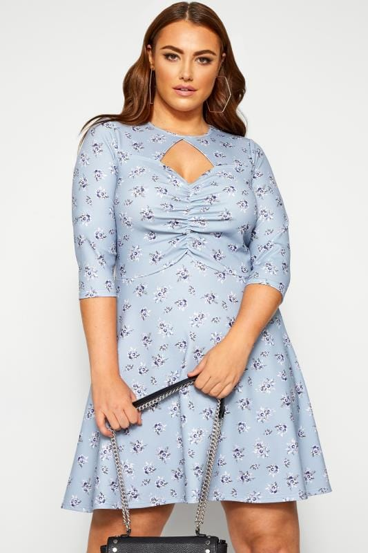 Plus Size Jersey Dresses LIMITED COLLECTION Blue Ditsy Ruched Tea Dress