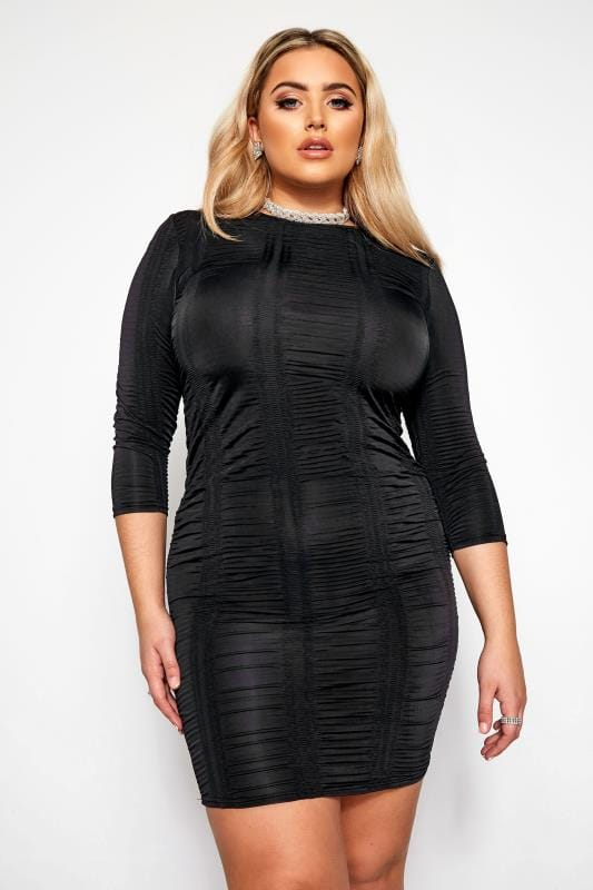 Plus Size Going Out Dresses LIMITED COLLECTION Black Ruched Bodycon Dress