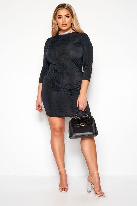LIMITED COLLECTION Navy Ruched Bodycon Dress