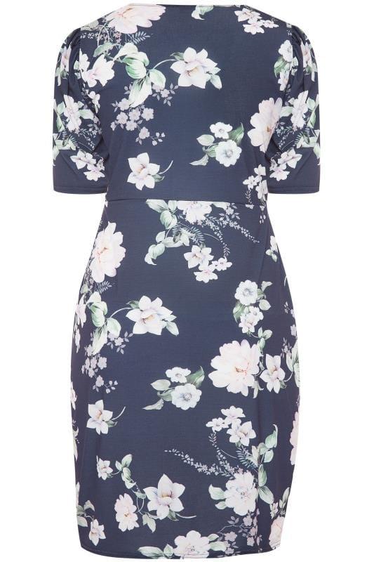 YOURS LONDON Blumen-Kleid mit Raffung - Dunkelblau | Yours ...