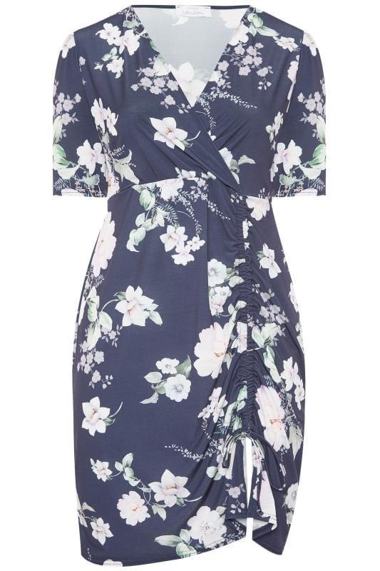 Plus Size Floral Dresses YOURS LONDON Navy Floral Ruched Wrap Dress