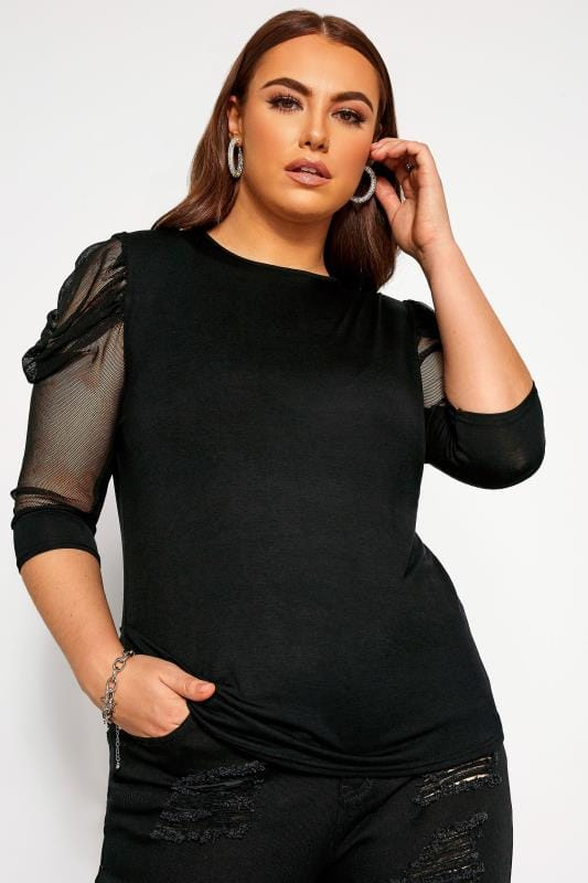 Большие размеры | Party Tops LIMITED COLLECTION Black Ruched Mesh Sleeve Top