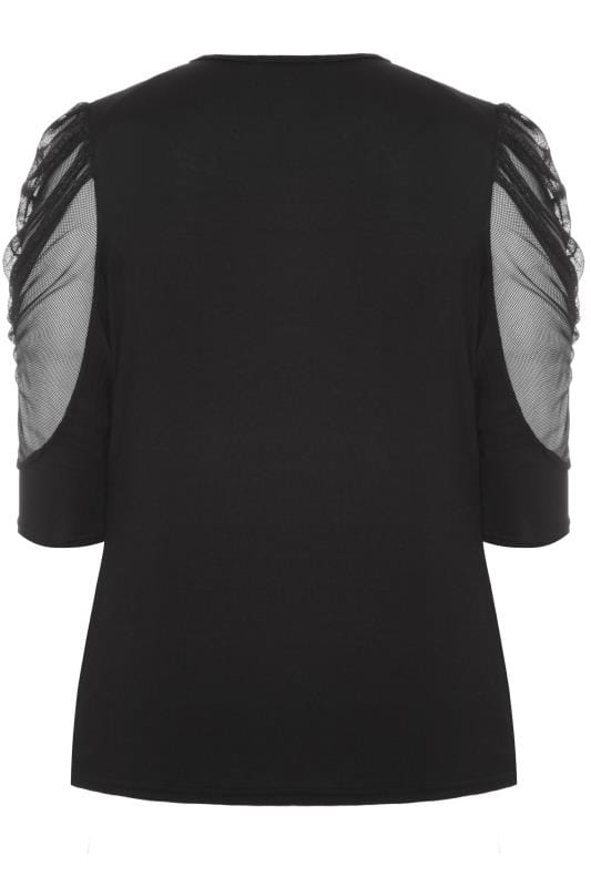 LIMITED COLLECTION Black Ruched Mesh Sleeve Top