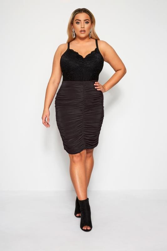 Plus Size Midi Skirts LIMITED COLLECTION Black Ruched Skirt