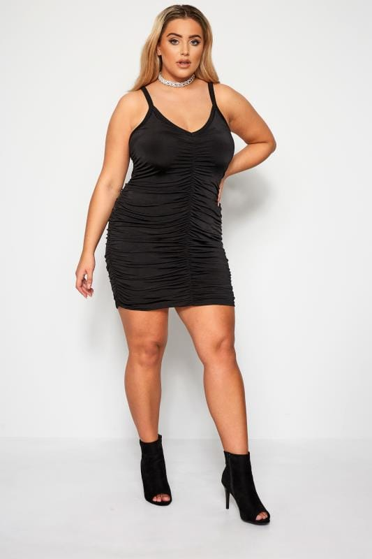 Plus Size Black Dresses LIMITED COLLECTION Black Ruched Dress