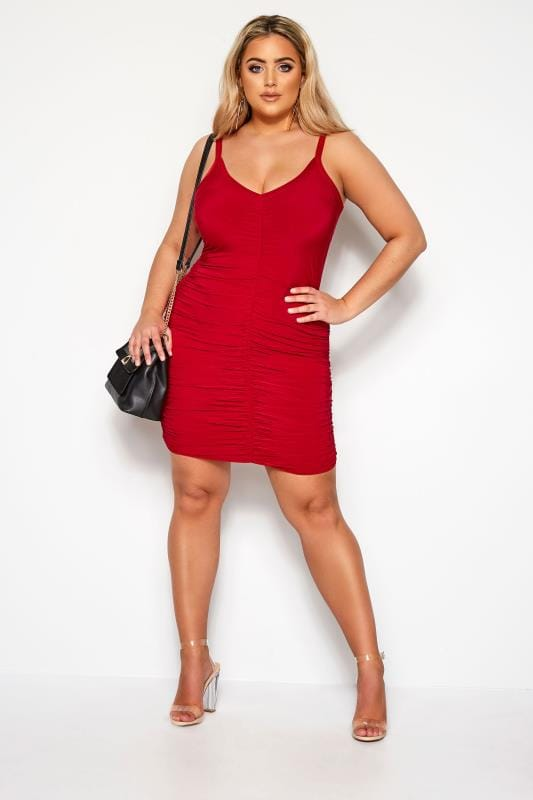 Plus Size Going Out Dresses LIMITED COLLECTION Red Ruched Bodycon Dress