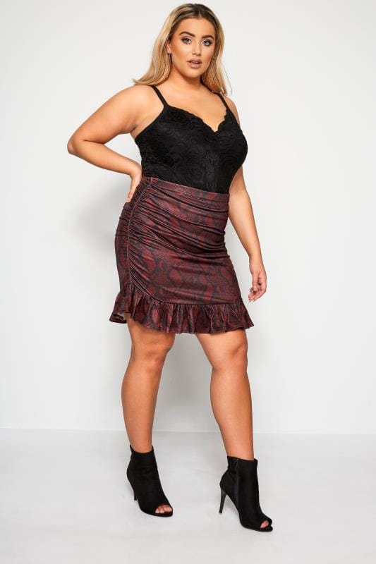 Plus Size Midi Skirts LIMITED COLLECTION Red Snake Print Ruched Skirt