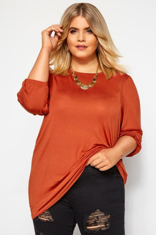 Plus Size Jersey Tops Rust Balloon Sleeved Top