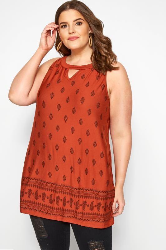 Plus Size Jersey Tops Rust Border Print Halter Neck Top
