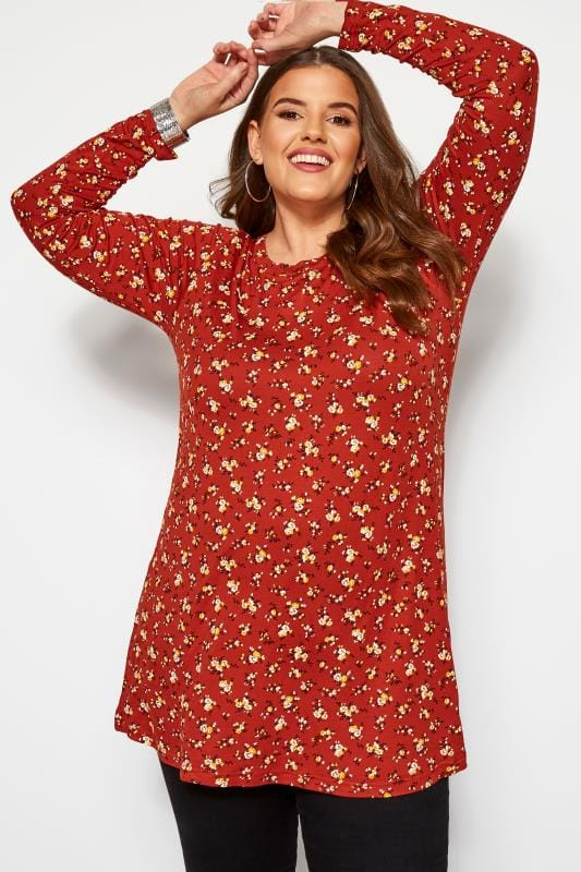 Plus Size Jersey Tops Rust Ditsy Floral Long Sleeved Swing Top
