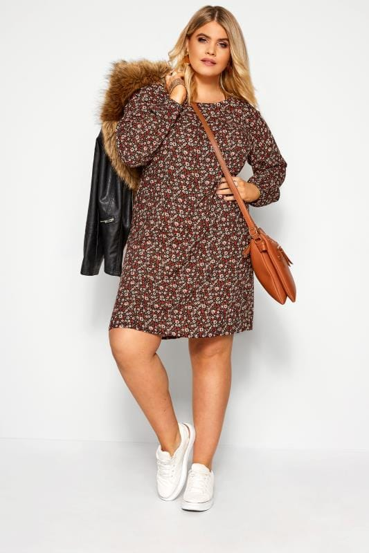 Plus Size Floral Dresses Rust Ditsy Floral Swing Dress