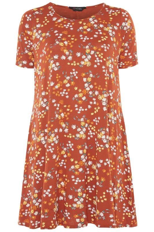 Blumen-Kleid mit Taschen - Rost