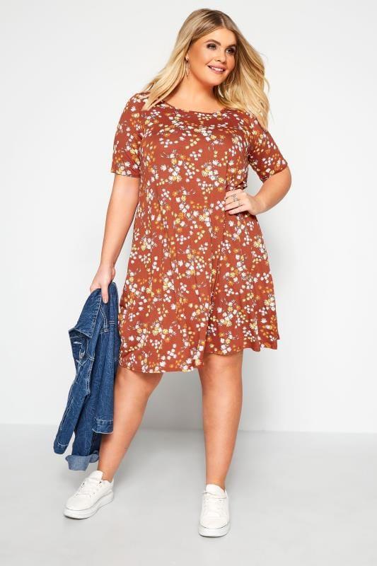 Rust Floral Pocket Swing Dress
