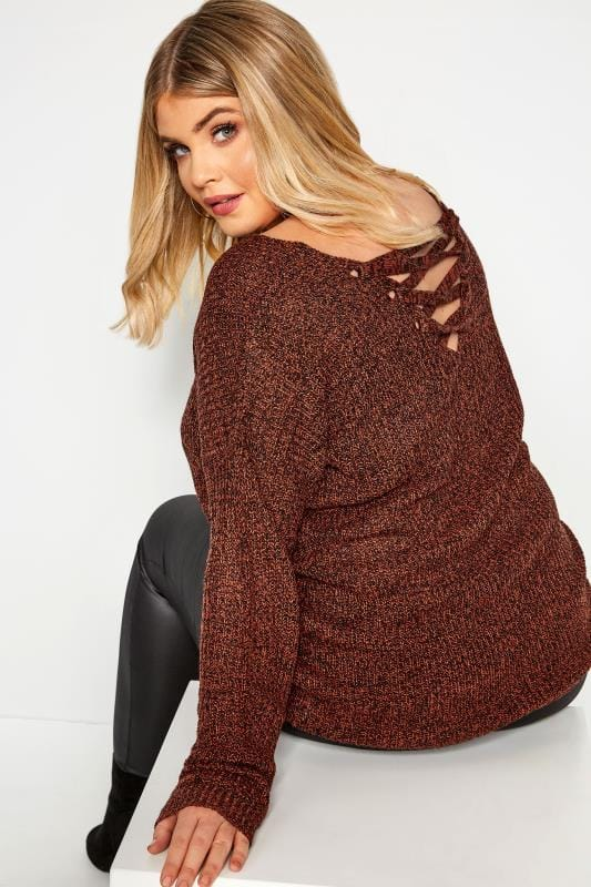 Plus Size Knitted Tops & Jumpers Rust Lattice Back Twist Knit Jumper