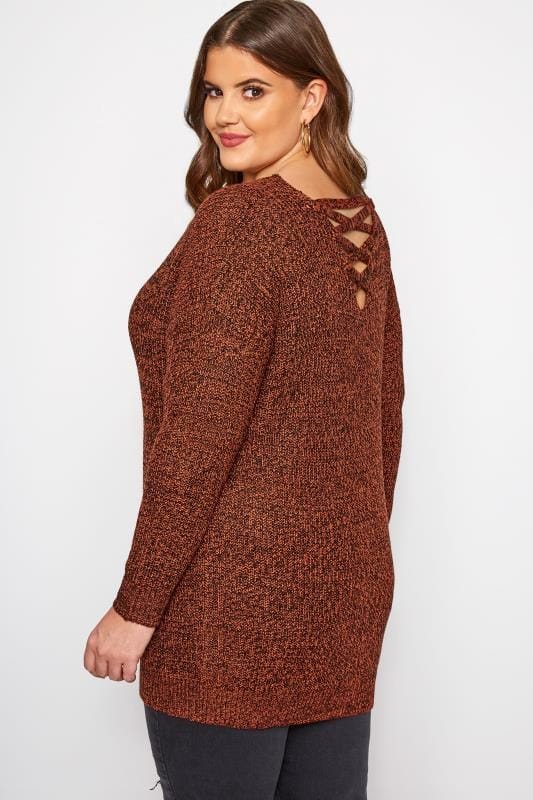 Plus Size Knitted Tops & Sweaters Rust Lattice Back Twist Knit Jumper