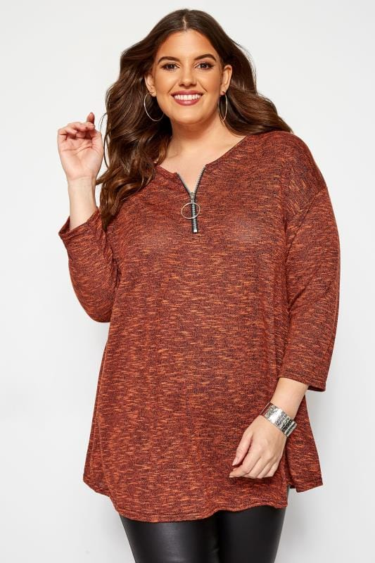 Plus Size Longline Tops Rust Longline Top With Zip Front