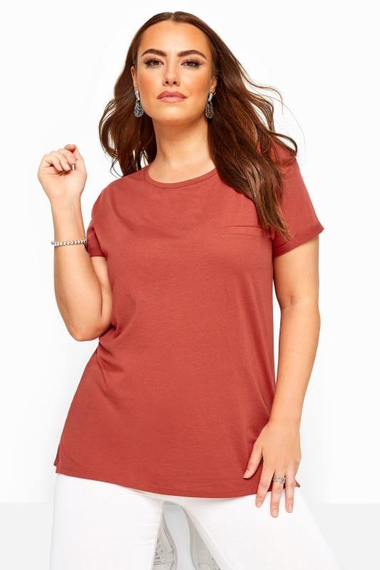 Plus Size Basic T-Shirts & Vests Rust Mock Pocket T-Shirt