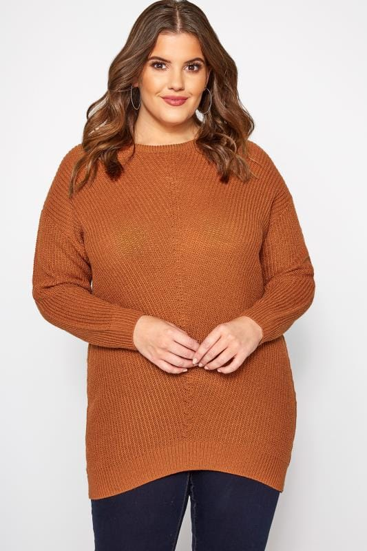 Plus Size Jumpers Rust Chunky Knitted Jumper