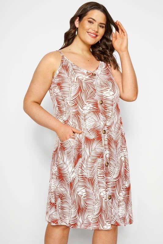 Plus Size Casual Dresses Rust Orange Palm Print Drape Pocket Dress