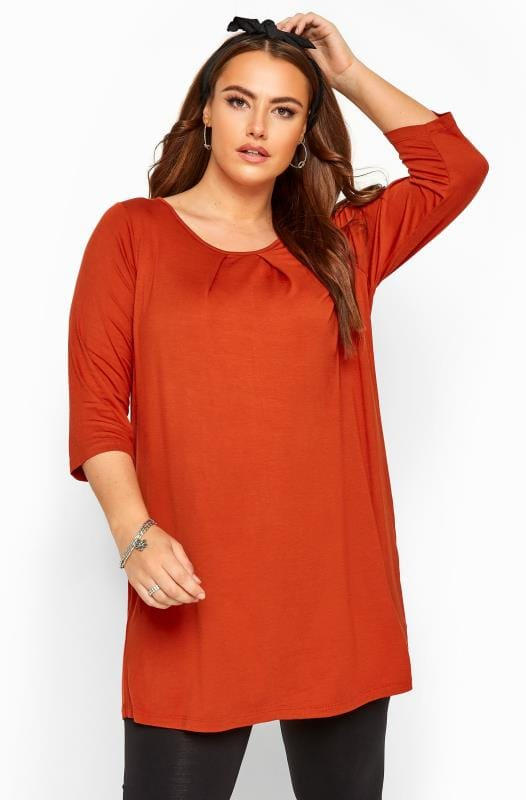 Plus Size Jersey Tops Rust Pleat Neck Top