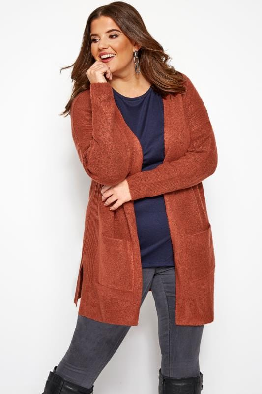 Plus Size Cardigans Rust Ribbed Trim Pocket Cardigan