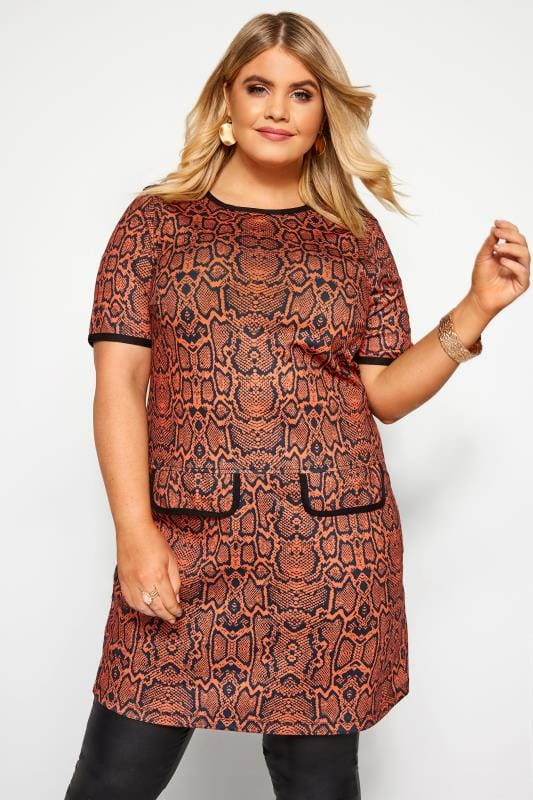 Plus Size Tunics Rust Snake Print Mock Pocket Tunic