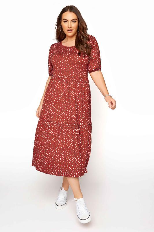 Plus Size  Rust Spot Print Puff Sleeve Midaxi Dress