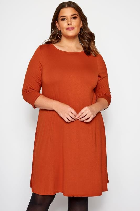 Plus Size Jersey Dresses Rust Swing Dress