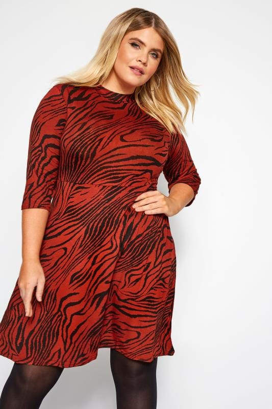 Plus Size Jersey Dresses Rust Tiger Print Turtle Neck Dress