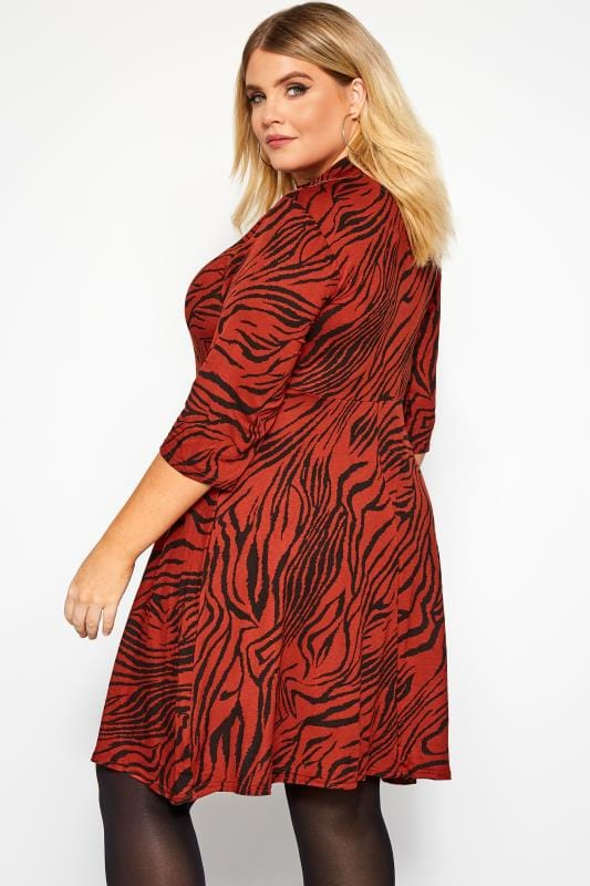 Rust Tiger Print Turtleneck Dress