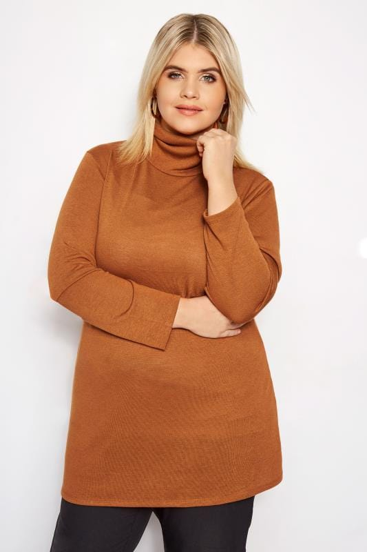Plus Size Longline Tops Rust Turtleneck Swing Top