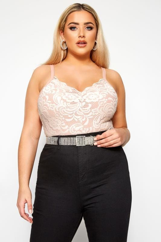 Plus Size Lace Tops LIMITED COLLECTION Pink Scalloped Lace Bodysuit