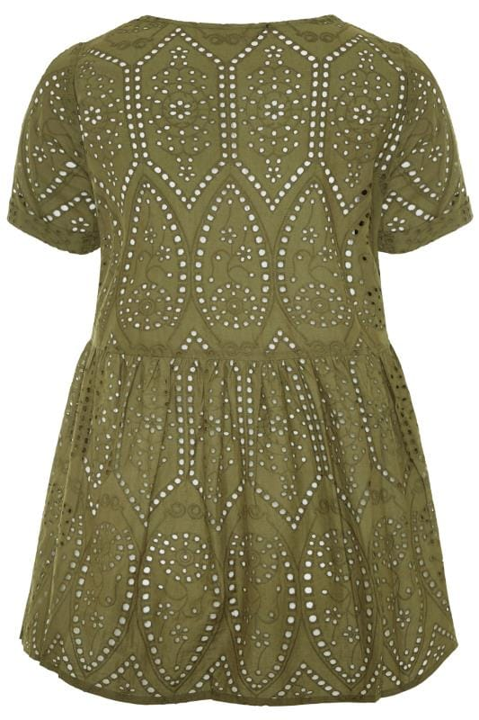 Khaki Embroidered Lace Peplum Smock Top
