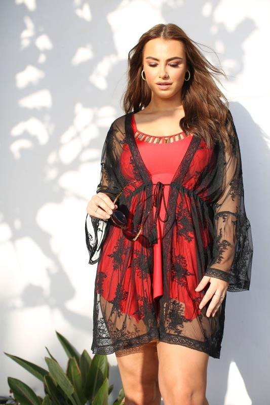 Plus Size Kimonos Black Floral Mesh Cover Up