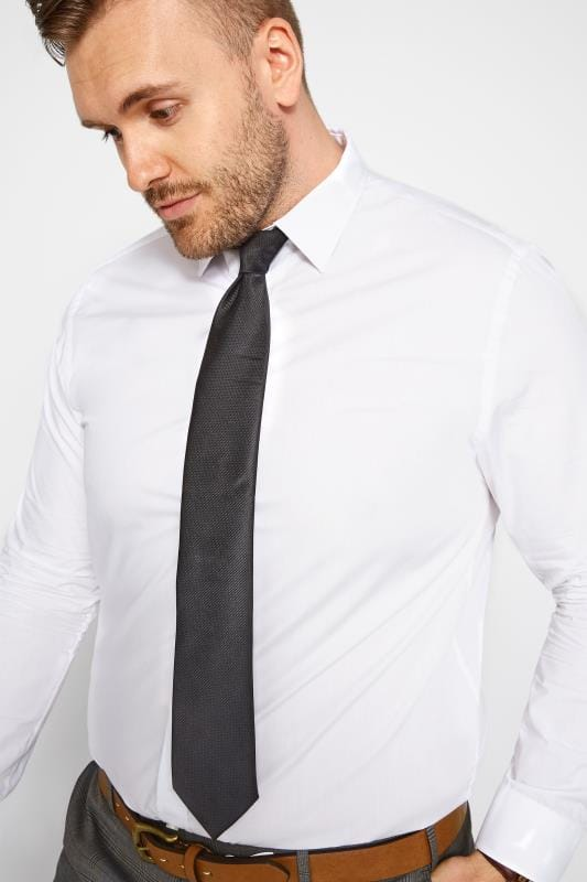 Plus Size Ties SCOTT & TAYLOR Black Twill Tie