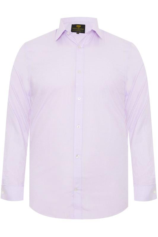 Plus Size Smart Shirts SCOTT & TAYLOR Light Purple Textured Shirt