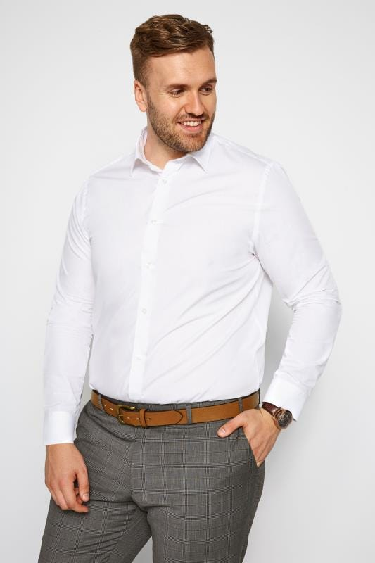 Plus Size Smart Shirts SCOTT & TAYLOR White Poplin Shirt