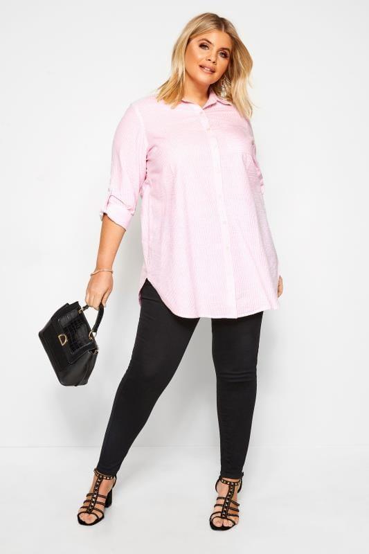 Plus Size Beauty Pink Pinstripe Shirt