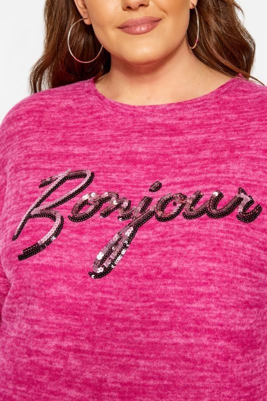 Pink Sequin 'Bonjour' Slogan Jumper