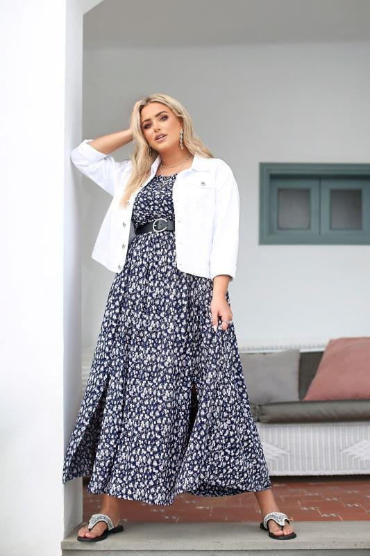 Plus Size Beauty Navy Ditsy Floral Shirred Bardot Maxi Dress