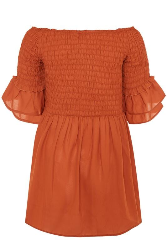 Rust Shirred Bardot Top