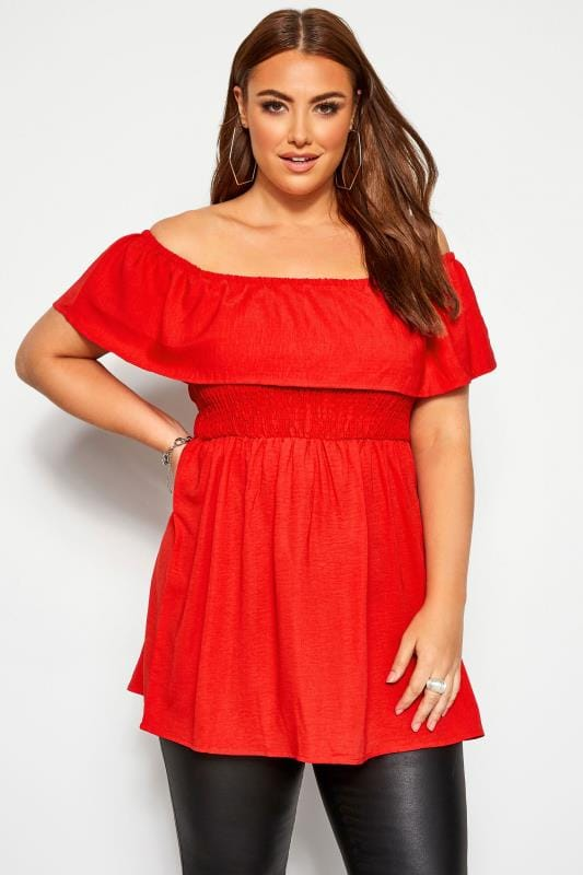 Plus Size Day Tops Red Shirred Bardot Top