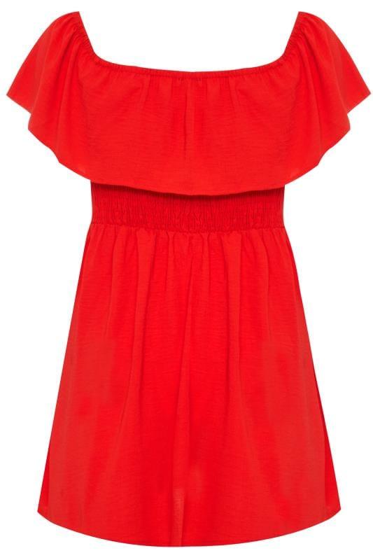 Red Shirred Bardot Top